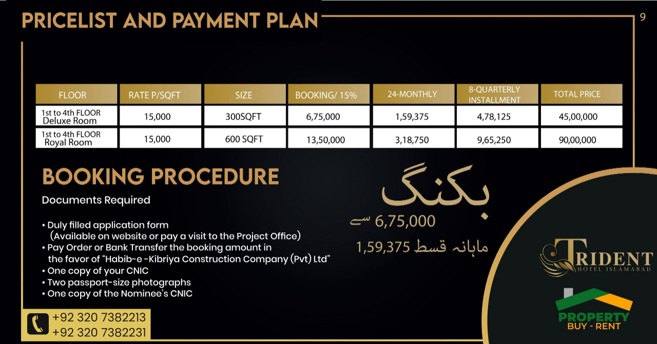 Trident Hotel Islamabad Prices Plan