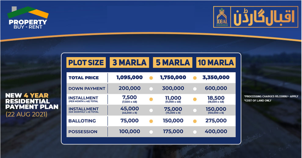 residential payment plan iqbal garden lahore